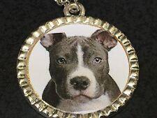 "Dog Pit Bull Grey Charm Tibetan Silver with 18"" Necklace BIN C"