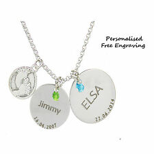 Baby feet 2 ring disc personalised free engraving name& date gift necklace