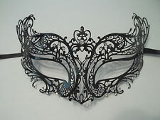 Royal Black Laser Cut Venetian Masquerade Metal Filigree Mask Rhinestone Crystal