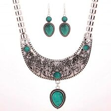 Fashion Tibetan Silver Green Turquoise Waterdrop Dangle Necklace Earrings Set