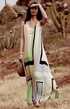 NEW Anthropologie Maeve yellow nude blue black green Striped Swing Maxi Dress L