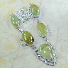 """Green Prehnite Crystal 100% Pure 925 Sterling Silver Necklace 19.5"""" #C26447"""