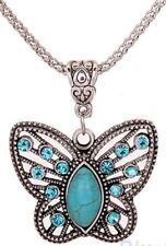 Turquoise Blue Topaz Silver Butterfly Crystal Necklace December Birthstone 45