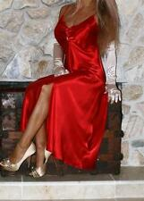 M SEXY RED SATIN SLIP NEGLIGEE LINGERIE LONG NIGHT GOWN