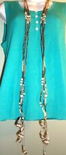 """Brand Name 68 """"  long beaded necklace white brown gold beads w/ feathers dangle"""