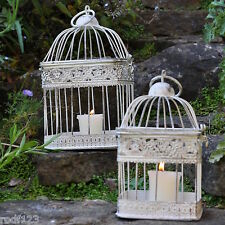 Set of 2   Wedding Favours Table Centerpiece Shabby Chic Square White Bird Cage