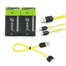2pcs S9 9V 400mAh Li-ion Polymer USB Rechargeable Battery + Free Micro USB Cable