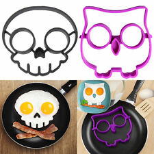 2 pc Breakfast Pancake Egg Ring Mold Silicone Funny Skull Owl Side Up Fried Mold