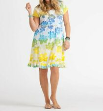 FRESH PRODUCE 1X White SUNSHINE Spring Fling Floral Jersey Dress NWT New 1X