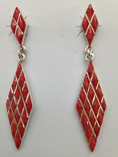 Sterling Silver Handmade Inlay Rhombus Shaped Spiny Oyster Post Dangle Earrings