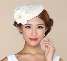 A223 Ivory Wool Womens Fascinator Wool Cocktail Hat Wedding Bridal Headpieces