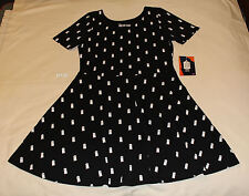 Doctor Who Ladies Black Tardis Printed Short Sleeve Skater Dress Size S New