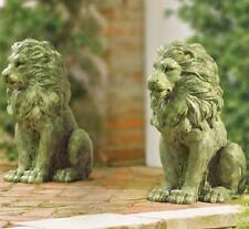 """Set of 2 Outdoor Porch Walkway Moss Lion Statues ea. 14 1/4""""H Resin"""