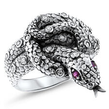 GENUINE RUBY EYED SNAKE RING VICTORIAN 925 STERLING SILVER RING SIZE 7,     #401