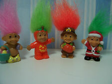 "FOUR MINIATURE HOLIDAY TROLLS  - 1"" Russ Troll Dolls - Very Rare"