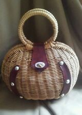 Unique Vintage Wicker and Leather Clam Shell Basket Purse Metal Feet