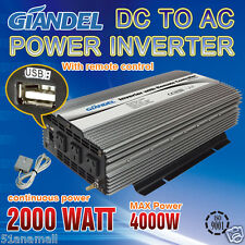 Power Inverter Continues 2000W / 4000W 12V-240V With Remote Control + 2.1Amp USB