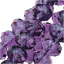 Amethyst Purple Glass Faceted Rondelle Beads 6x8mm (17 Inch Strand)