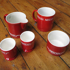 Nescafe Coffee Vintage Red + White Mug Cup + Milk Jug Sugar Bowl 2 Egg Cups Set