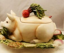 Fitz & Floyd Classics FRENCH MARKET Pig Tureen with Ladle and Tray NEW TORN BOX*