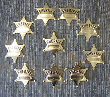 36 NEW METAL TOY SHERIFF BADGES  WEST COWBOY SILVER SHERIFF'S BADGE PARTY FAVORS