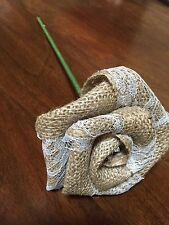 Natural Burlap & Lace Rose Flower STEM Rustic Wedding Outdoor Table Shabby Chic