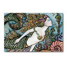 Original Painting mermaid Fantasy Art metal Leaf Sea Ocean Fish Queen Luree Lusk