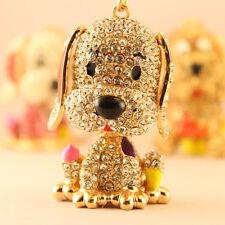 Gold Dog Puppy Fashion Keychain Rhinestone Crystal Charm Cute Animal Gift 01120