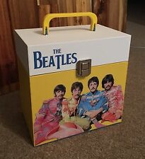 "The Beatles - wooden 7"" Record Box/Case 45's holds 30-50 singles Wide design"