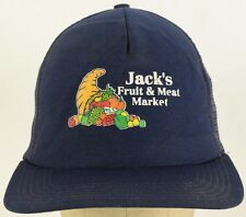 Jack's Fruit & Meat Market Blue Mesh Trucker Hat Cap and Snapback Adjust Strap