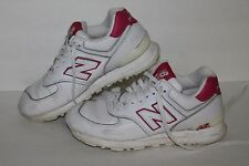 New Balance 574 Running Shoes, #W574PL, Wht/Pink, Leather, Women's US Size 7.5