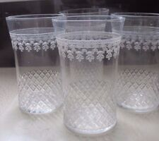 VICTORIAN FINE GLASS,ETCHED DRINKING GLASSES X 4 TUMBLER SIZE,VGC