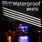 4 X White Boat LED Strip Lights 50cm Flexible Caravan Garden Camping Waterproof