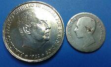 MONEDAS  DE PLATA  ESPAÑA 1 PTAS. DE PLATA  ALFONSO XII. + 100 PTAS. 1966 *66