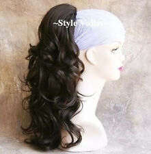 Dark Brown Ponytail Extension Hairpiece Long Wavy Hair Piece detached claw clip