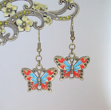 Vintage Bronze Red and Blue Enamelled Butterfly Dangly Victoriana Earrings