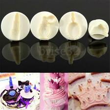 4pcs Crown Fondant SugarCraft Cake Cutter Pastry Birthday Cookie Decoration Mold