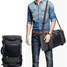 "Black Mens 18"" Genuine Leather Luggage Canvas Duffle Travel Lightweight Tote Bag"