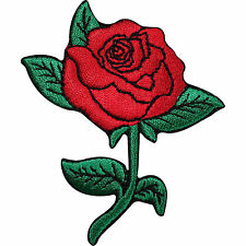 Red Rose Flower Iron On Sew Tattoo Embroidered Applique Jeans Dress Badge Patch