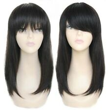 100% Real Human Hair Womens Straight Black Hair Hand Weave Long Silky Virgin Wig