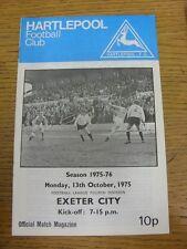 13/10/1975 Hartlepool United v Exeter City  . Footy Progs/Bobfrankandelvis, expe