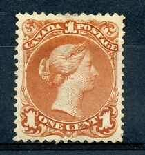 Weeda Canada 22 VF+ mint no gum 1c brown red Large Queen 1868 issue CV $1,000