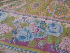Vintage KING FLAT sheet bedding Shabby Cottage French Country Retro chic  fabric