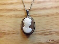 Antique SILVER 835 Carved CAMEO Necklace Pendant