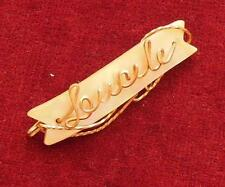 Vintage Gold Tone Mother of Pearl LEUCILE Brooch Pin C-Clasp