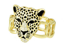 Gold Tone Leopard Head Stretch Bangle Bracelet with White Crystals