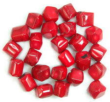 11x14-14x16mm A++ Faceted Red Coral Nugget Beads 15.5""