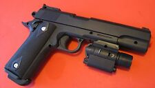 Quality Large Airsoft Spring Pistol P-378C Black Black with Tactical Flashlight