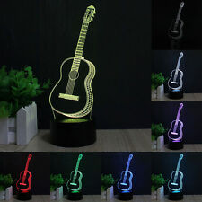 3D LED 7 Color Guitar Musical Instruments Night Light Change Table Lamp
