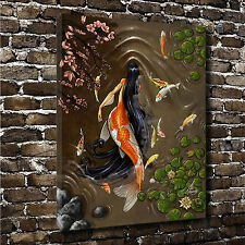 "16""x20"" HD Canvas print Home decoration painting (No frame) Koi Mermaid #10007"